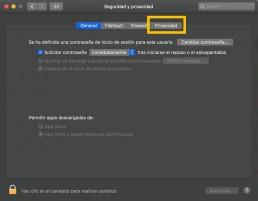 ventana seguridad y privacidad del mac