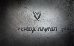 Diseño de logotipo del videojuego Ferox Anima. Fondo metalizado